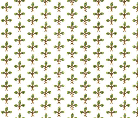 peacock_fleurdeli2_white fabric by glimmericks on Spoonflower - custom fabric