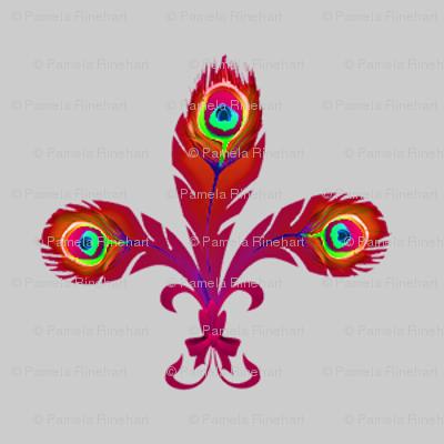 peacock fleurdelis flame on gray
