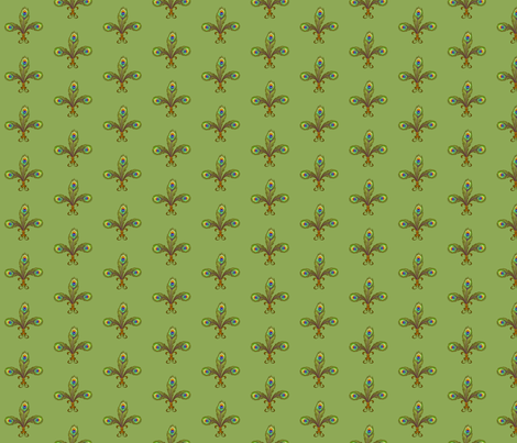 peacock fleurdelis softgreen fabric by glimmericks on Spoonflower - custom fabric