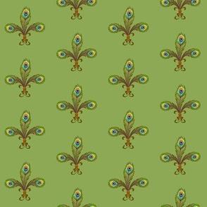 peacock fleurdelis softgreen