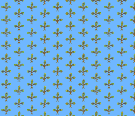 peacock fleurdelis sky fabric by glimmericks on Spoonflower - custom fabric