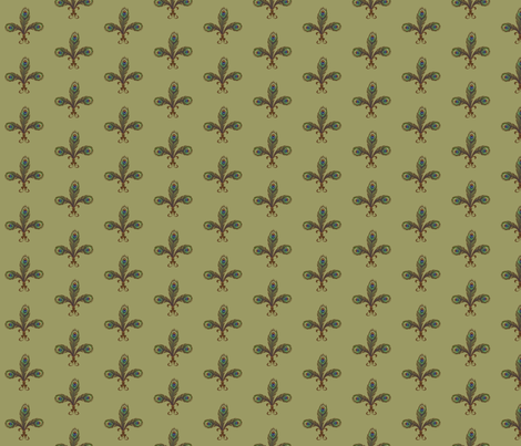 peacock fleurdelis sage fabric by glimmericks on Spoonflower - custom fabric