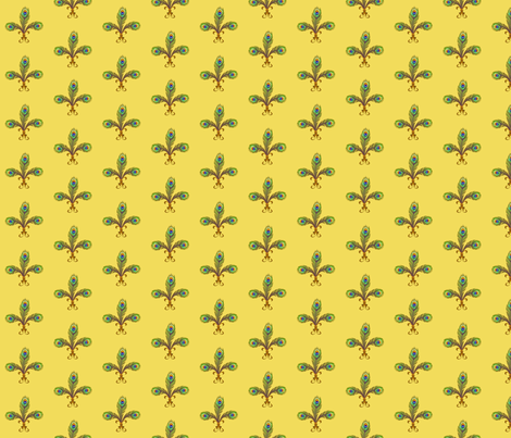 peacock fleurdelis lemon chiffon fabric by glimmericks on Spoonflower - custom fabric