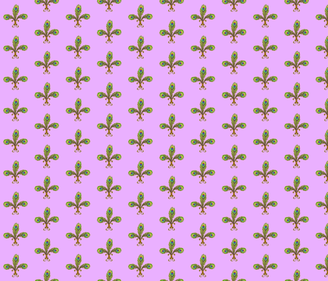 peacock fleurdelis pale orchid fabric by glimmericks on Spoonflower - custom fabric