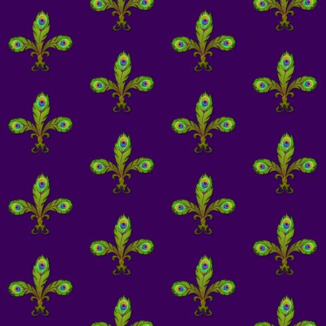peacock fleurdelis mardigras fabric by glimmericks on Spoonflower - custom fabric
