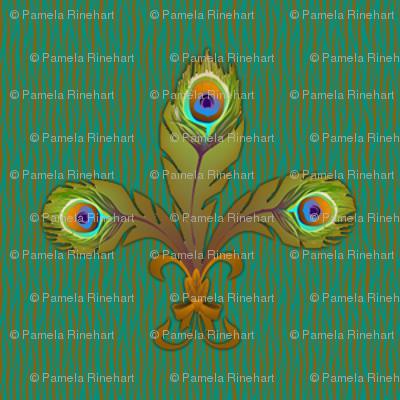 peacock fleurdelis bronze
