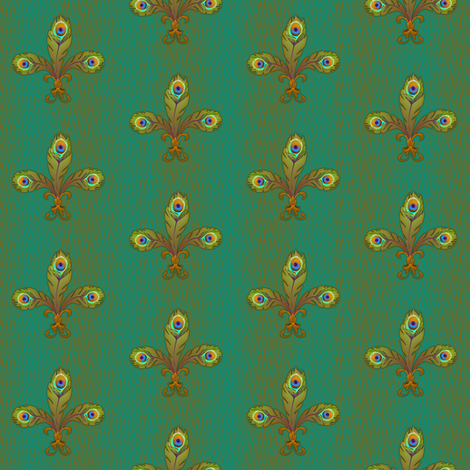 peacock fleurdelis bronze fabric by glimmericks on Spoonflower - custom fabric
