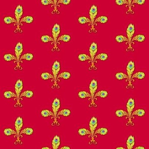 peacock fleurdelis ruby and gold