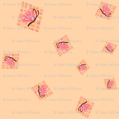 peach butterflies