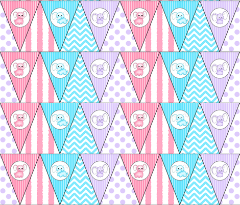 Hellephant Bunting fabric by risarocksit on Spoonflower - custom fabric