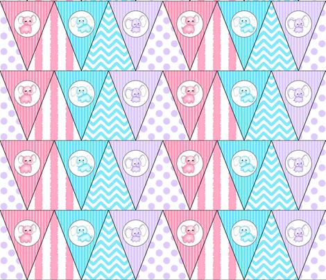 Hellephant Bunting fabric by risarocksit on Spoonflower - custom fabric