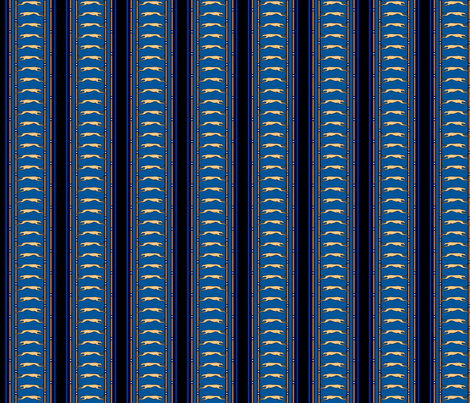 Running Greyhound Stripe tan blue © 2012 by Jane Walker fabric by artbyjanewalker on Spoonflower - custom fabric