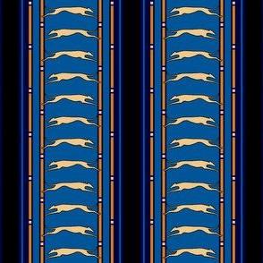 Running Greyhound Stripe tan blue © 2012 by Jane Walker