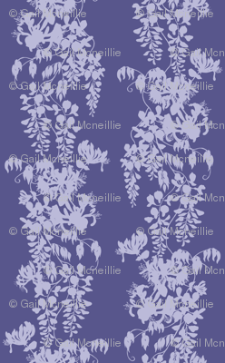Wisteria & Honeysuckle Silhouette - purple/blue on dark