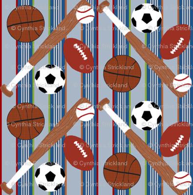 Sports Balls Light Blue Stripe