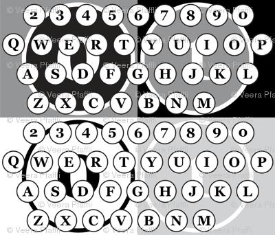 typewriter number letter keys pattern