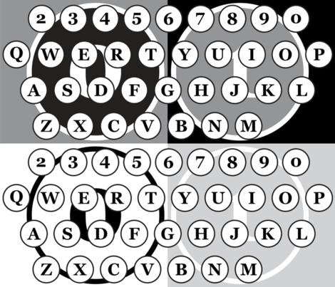 typewriter number letter keys pattern fabric by veerapfaffli on Spoonflower - custom fabric