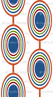Geometric Ovals - Multi on White