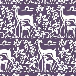 Arts & Crafts deer and grapes vector - white on PURPLE-274-replace