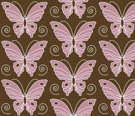 183-butterfl-2-vector-peach344-DKBRN30 fabric by mina on Spoonflower - custom fabric