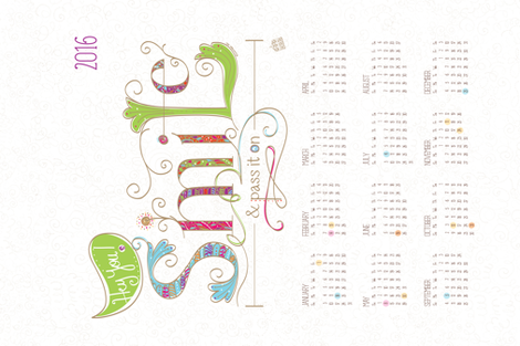 2016 Calendar: Smile and Pass it On - © Lucinda Wei fabric by lucindawei on Spoonflower - custom fabric
