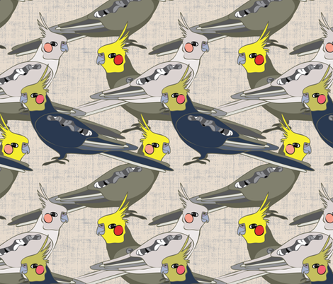 Cockatiels fabric by owlandchickadee on Spoonflower - custom fabric