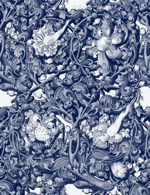 Fire Blossom Damask ~ Blue & White