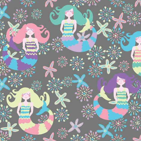 Night-Night Mermaids fabric by owlandchickadee on Spoonflower - custom fabric