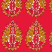 paisley teardrop red