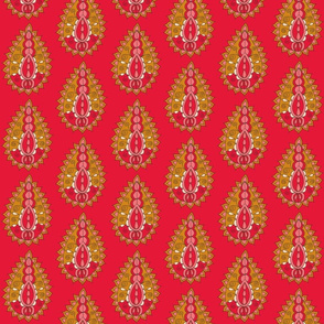 paisley teardrop red