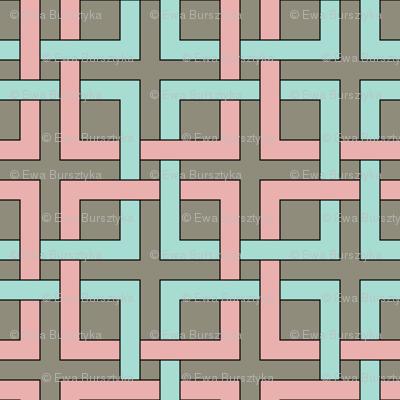 interlocking squares pink and turquoise