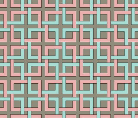 interlocking squares pink and turquoise fabric by ravynka on Spoonflower - custom fabric
