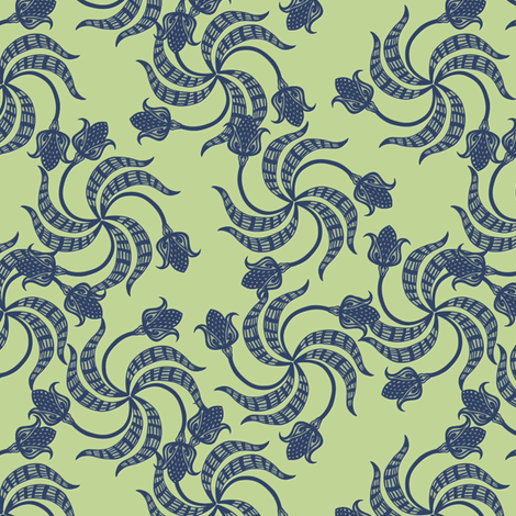 trinity_tulips_navy_on_green fabric by glimmericks on Spoonflower - custom fabric