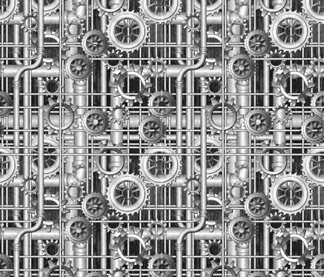 Steampunk Pipes and Gears Grayscale 50percent - 380ppi fabric 333 ppi wallpaper 307ppi giftwrap fabric by glimmericks on Spoonflower - custom fabric