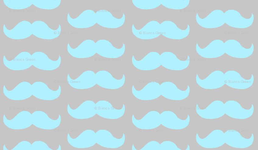 Mustache Pattern teal wallpaper biancagreen Spoonflower