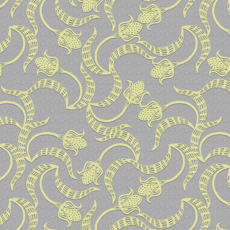 tri_tulip_mustard_weave fabric by glimmericks on Spoonflower - custom fabric
