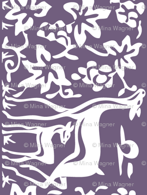 Deer & grapes close vector - VIOLET275 linen teatowel or cafe curtain