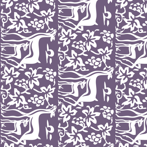 Deer & grapes close vector - VIOLET275 linen teatowel or cafe curtain fabric by mina on Spoonflower - custom fabric