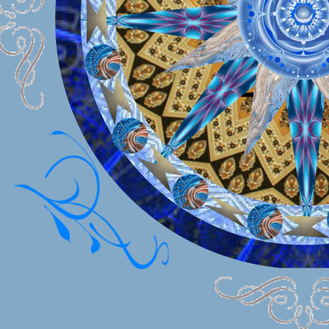 Blue and Gold Mandala fabric by woodsdesigns on Spoonflower - custom fabric