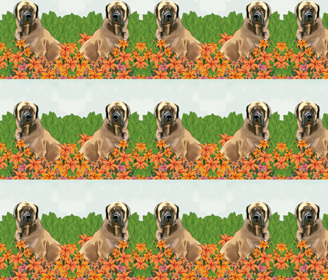 mastiffs_in_the_garden_fabric_ fabric by dogdaze_ on Spoonflower - custom fabric