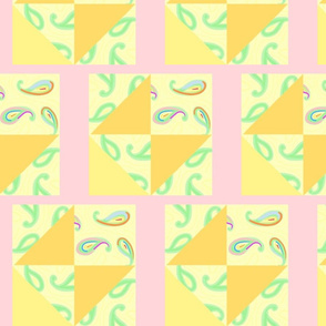 pastel paisleys pink quilt