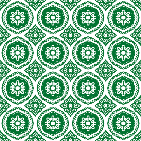 Hansel and Gretyl: Green Stamp fabric by tallulahdahling on Spoonflower - custom fabric