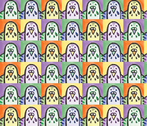 Parakeet Portraits - Small fabric by owlandchickadee on Spoonflower - custom fabric