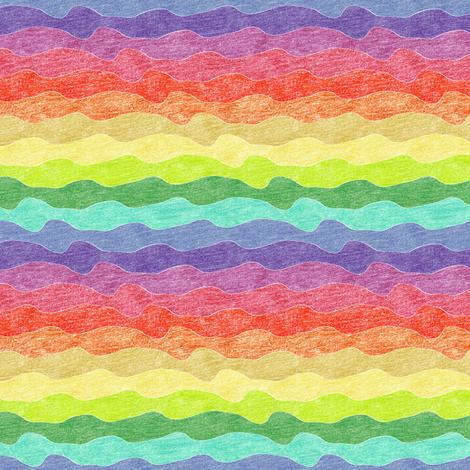 small rainbow crayon waves fabric by weavingmajor on Spoonflower - custom fabric