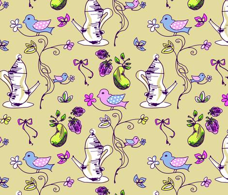LaraGeorgine_Tea-Birds-ed fabric by larageorgine on Spoonflower - custom fabric