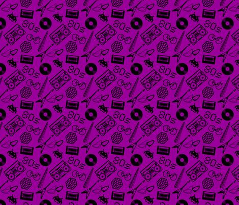 80s Icons on purple fabric by risarocksit on Spoonflower - custom fabric