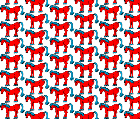 Small Red & Blue Horsie fabric by artflower on Spoonflower - custom fabric