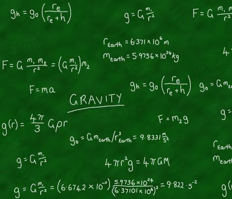 Gravity Lesson - Chalk on Chalkboard! fabric by shelleymade on Spoonflower - custom fabric