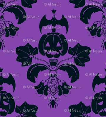 Jack O Lantern Damask Purple/Black