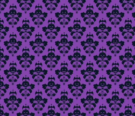 Jack O Lantern Damask Purple/Black fabric by pi-ratical on Spoonflower - custom fabric